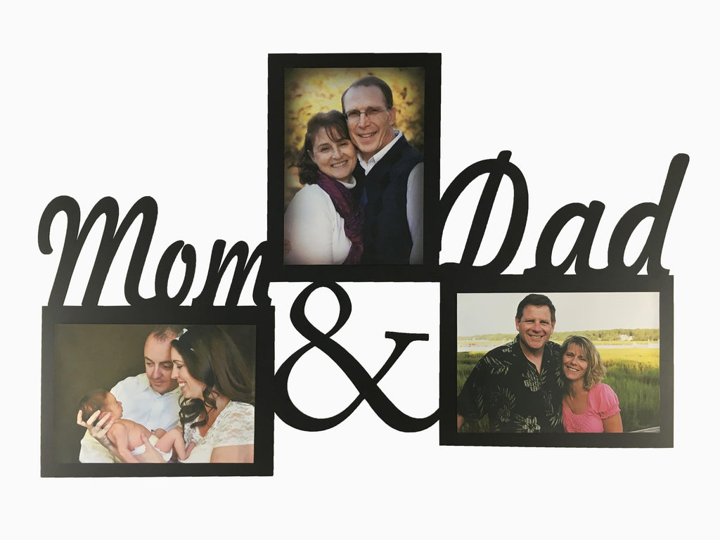 Wooden Wall Hanging Frame- Mom & Dad (3 Photos) - Photo Frame - Wisholize - 1