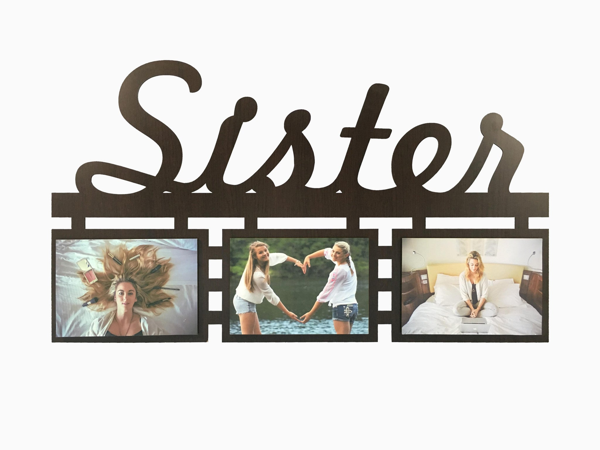 Wooden Wall Hanging Frame- Sister 3 Photos – Wisholize