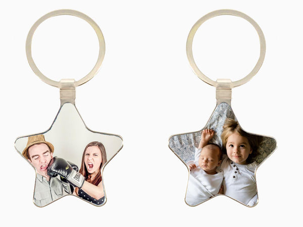 Metal Key Chain- Star (Double Side Photo) - Key Chain - Wisholize