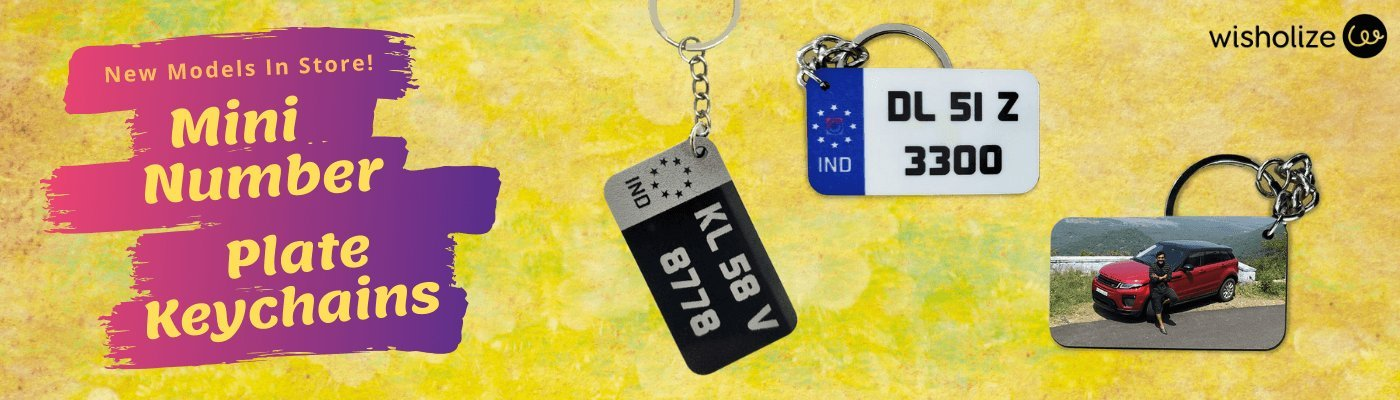 Personalised Mini Number Plate Keychains - Wisholize