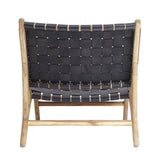 Black Leather & Teak Lounge Chair