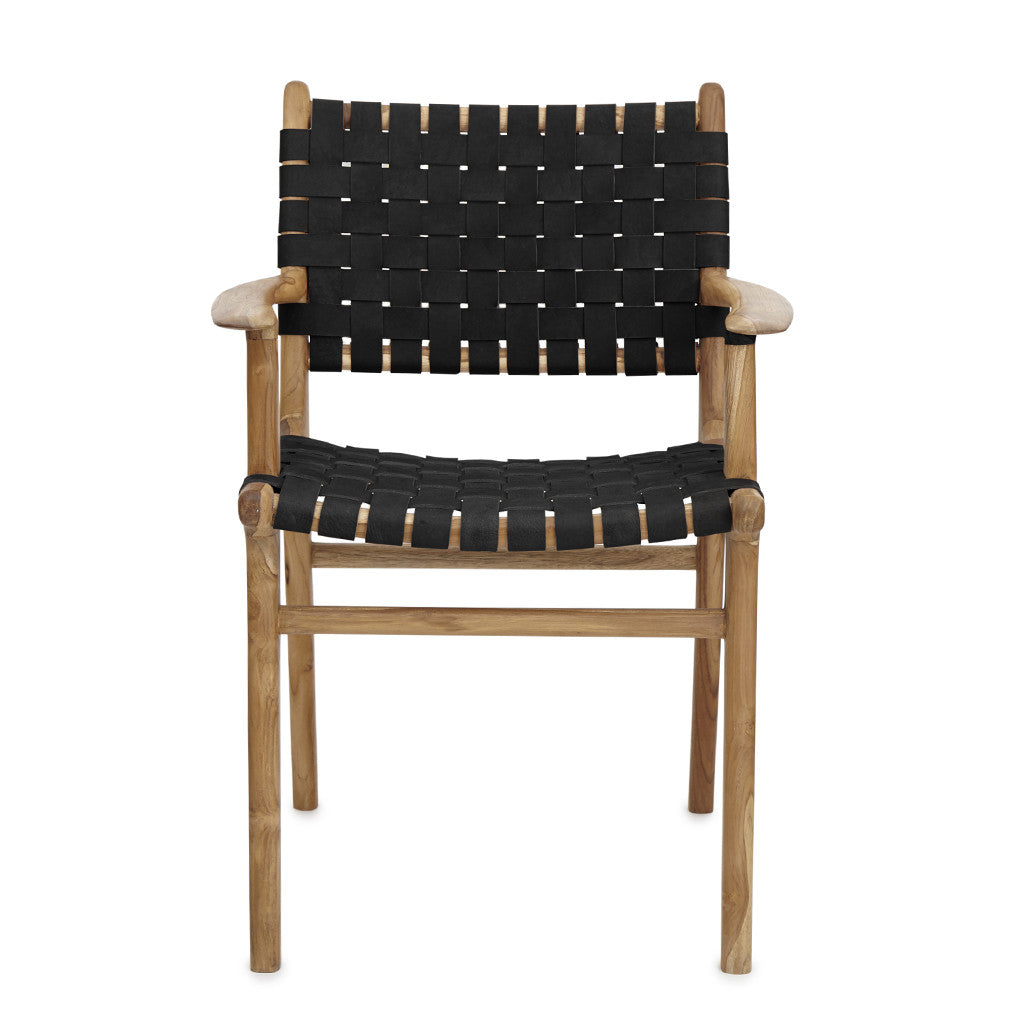 Black Leather & Teak Dining Chair