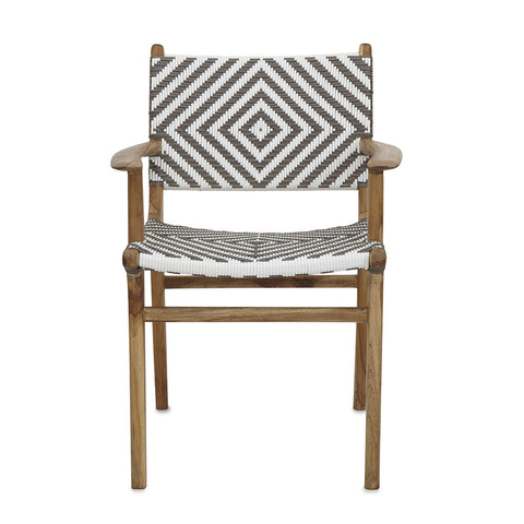 White Open Weave Rattan & Teak Dining Chair