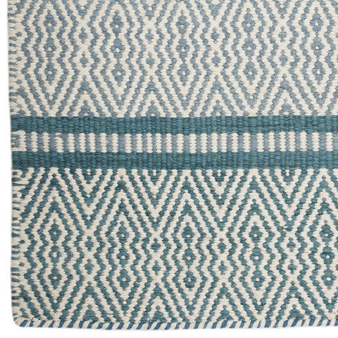 Long Hexagon & Stripes Dhurrie Rug