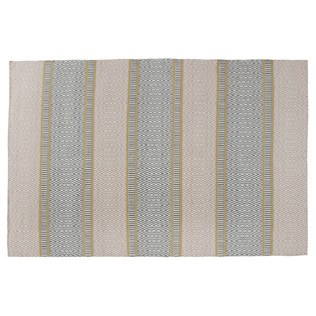 Diamond Trio & Stripe Dhurrie Rug
