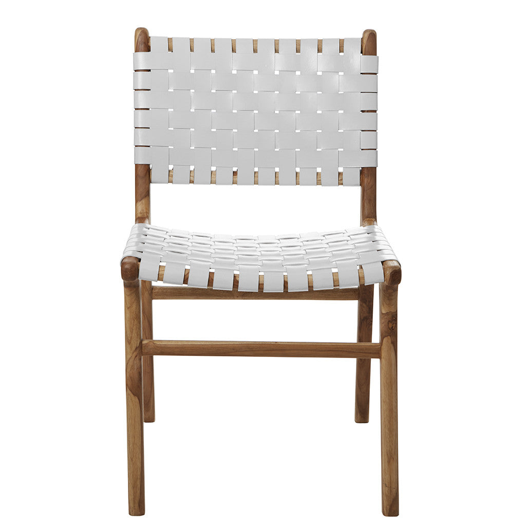 Picture of: White Leather Teak Dining Chair The Grey House