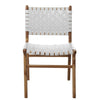 White Leather & Teak Dining Chair