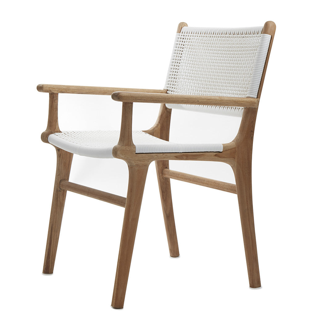 White Open Weave Rattan Teak Dining Chair The Grey House