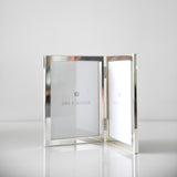 Silver-plated double photo frame