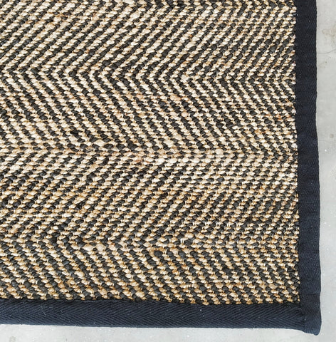 Braided Jute Rug with neutral stripe