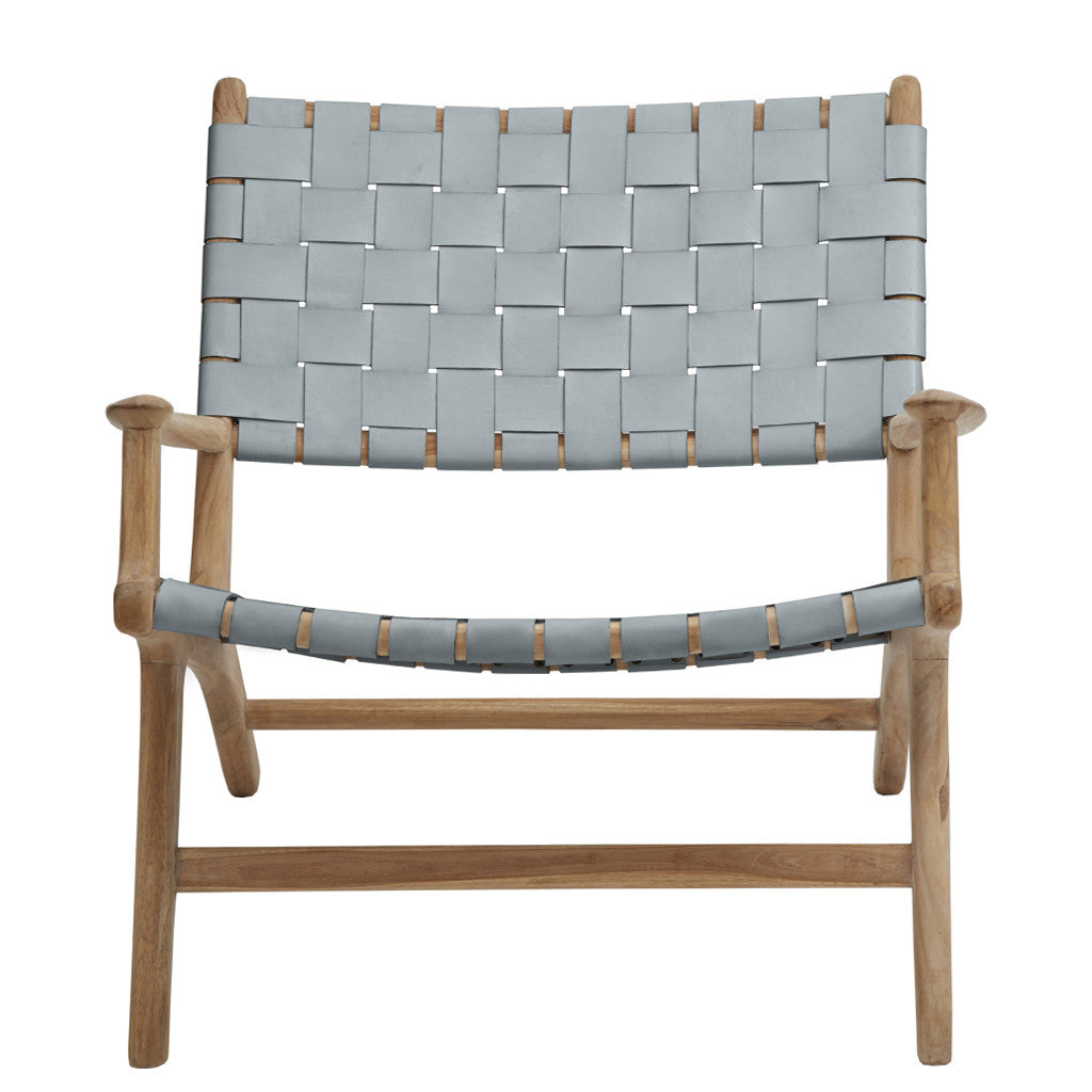 Grey Leather & Teak Lounge Chair