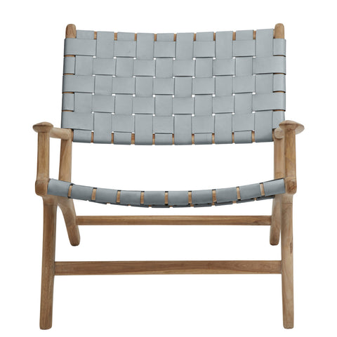 Tan Leather & Teak Sling Chair