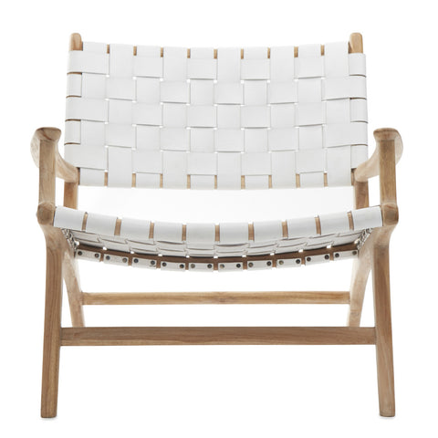 Diamond Weave Rattan & Teak Lounge Chair