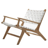 White Leather & Teak Lounge Chair