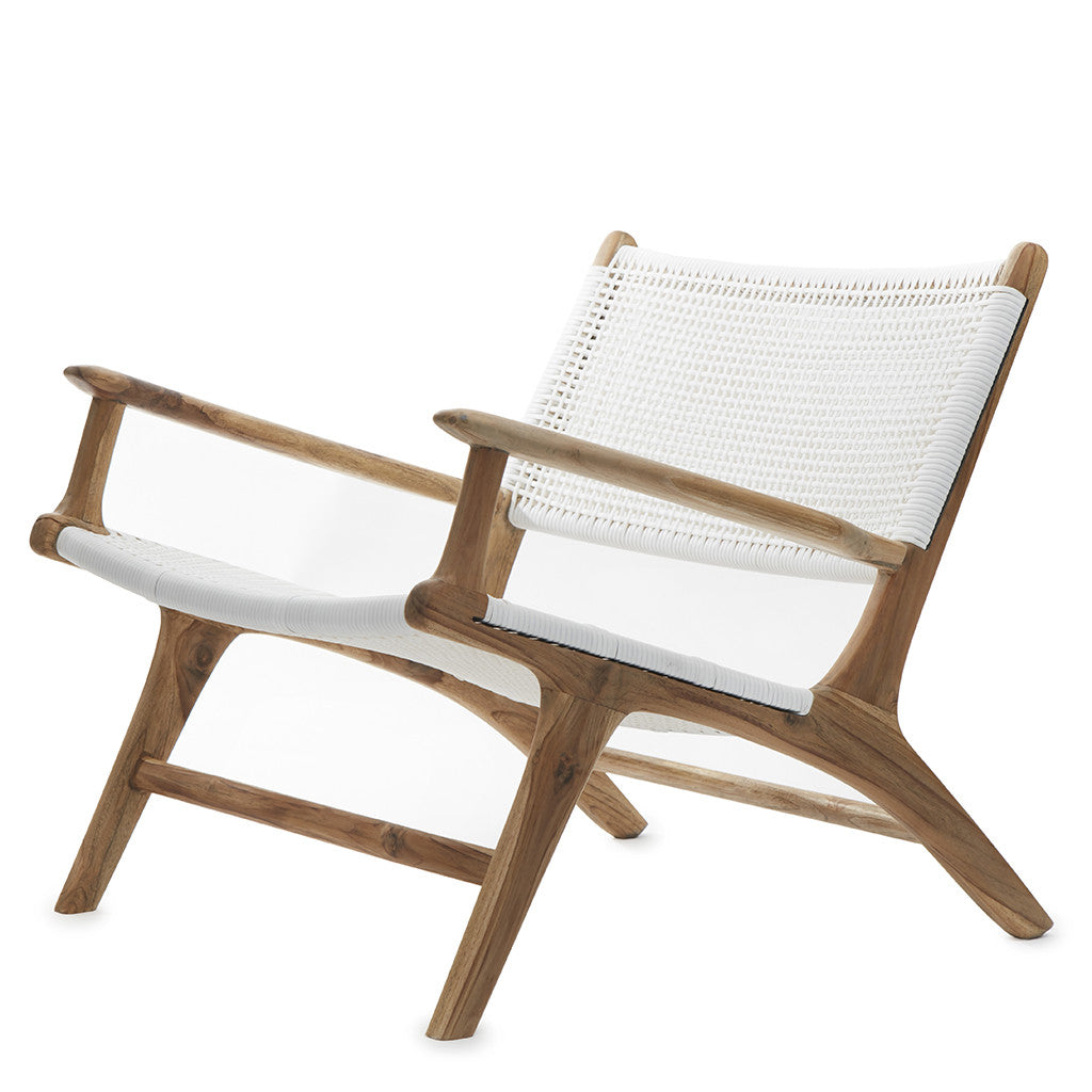 White Open Weave Rattan & Teak Lounge Chair