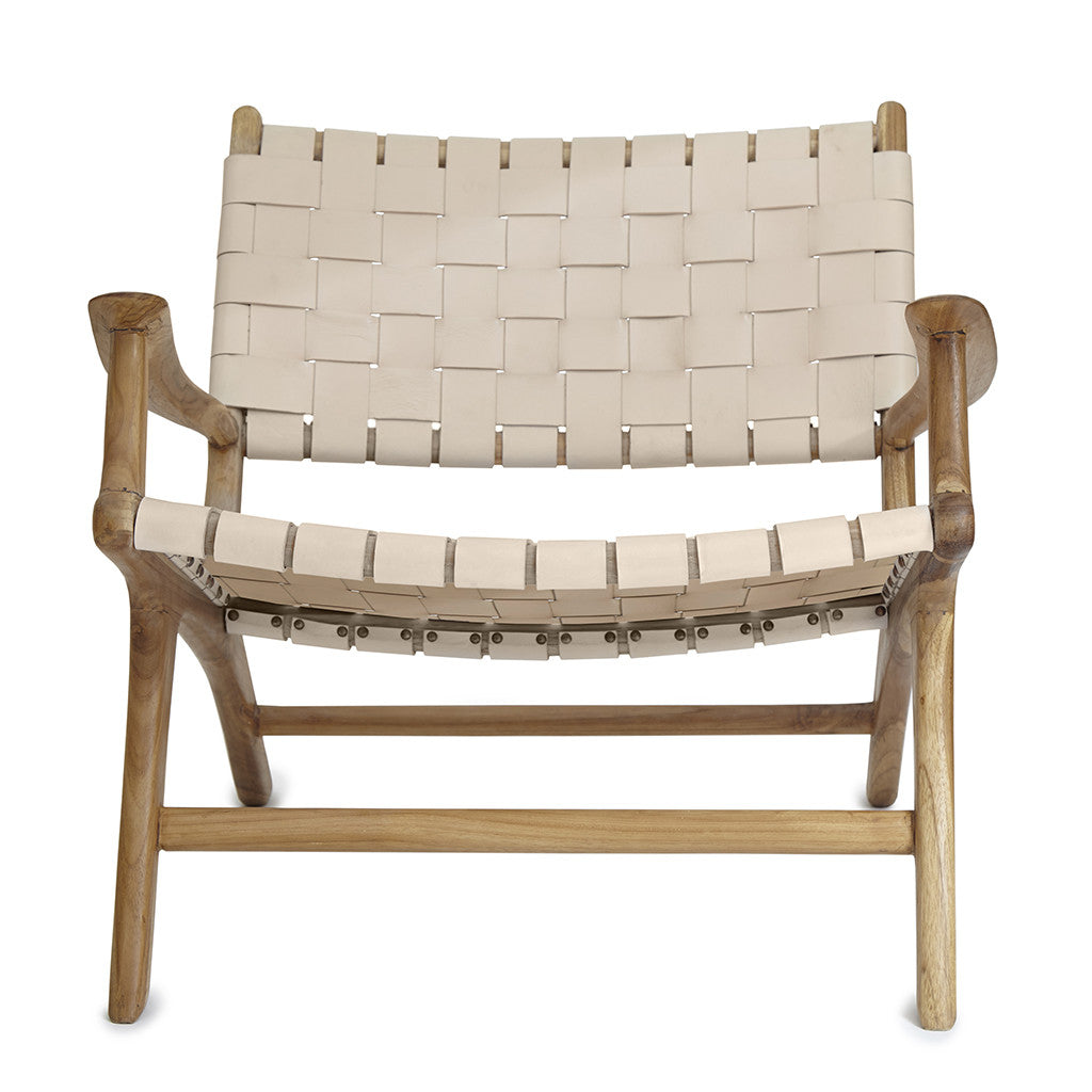 Perfect ... Blush Leather U0026 Teak Lounge Chair ...
