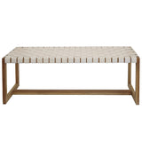 Woven Leather & Teak Bench