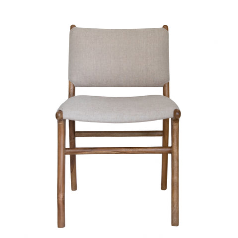 Blush Leather & Teak Dining Chair