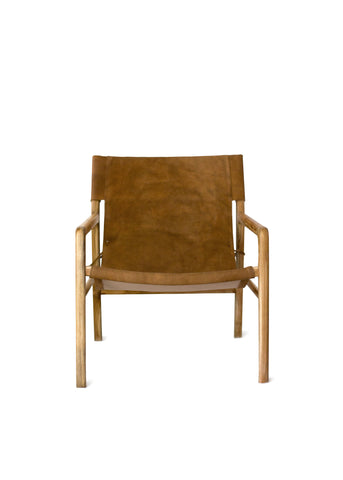 Tan Leather & Teak Lounge Chair