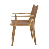 Tan Leather & Teak Dining Chair