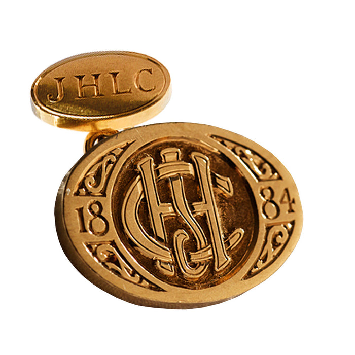 J.H. Cutler hand engraved gold cufflinks with monogram