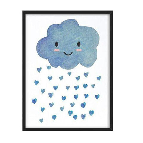 Cloud with Hearts Wall Print