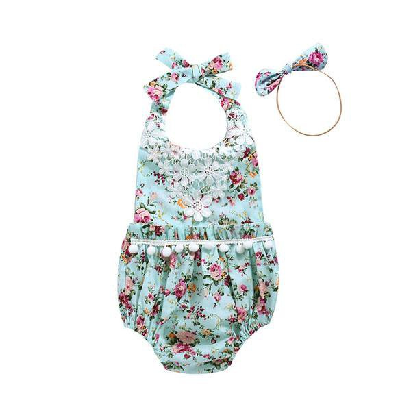 Flower Pompoms Sunsuit Set
