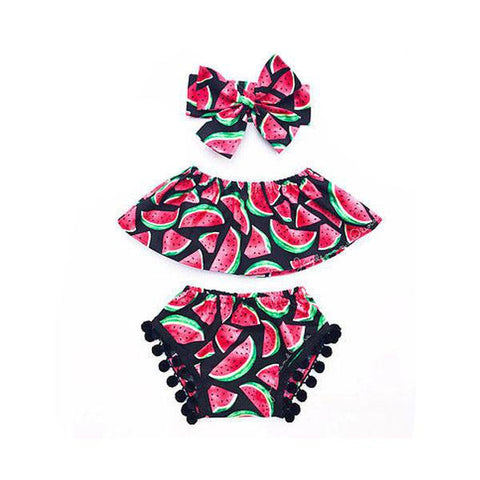 Watermelon Pompoms Bloomers Set