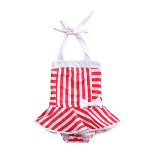 Bowknot Stripes Swimsuit
