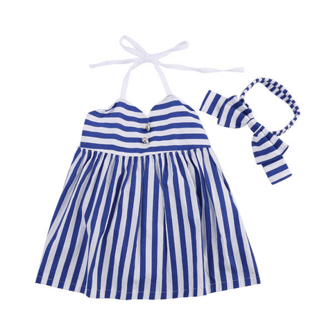 Blue Stripes Dress Set