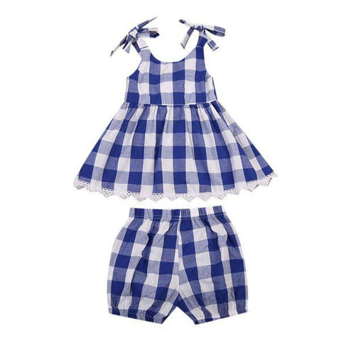 Blue Plaid Top & Short Set