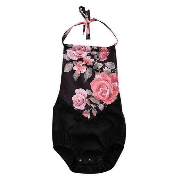 Black Floral Sunsuit