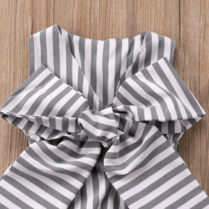 Amanda Bowknot Stripes Romper by Elsewhereshop