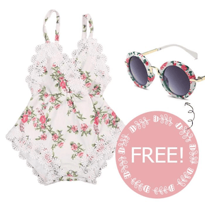 Kathleen Floral Romper + FREE!!!! Sunglasses Set by Elsewhereshop