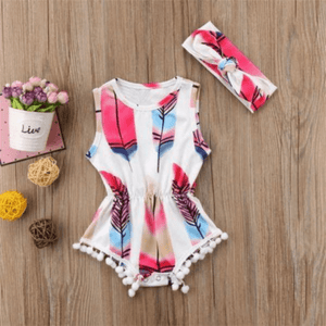 Feather Pompoms Romper Set by Elsewhereshop