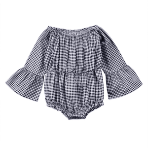 Checkered Flare Romper by Elsewhereshop