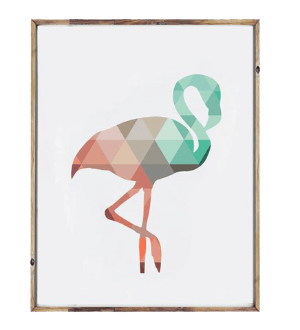 Geometric Flamingo Wall Print