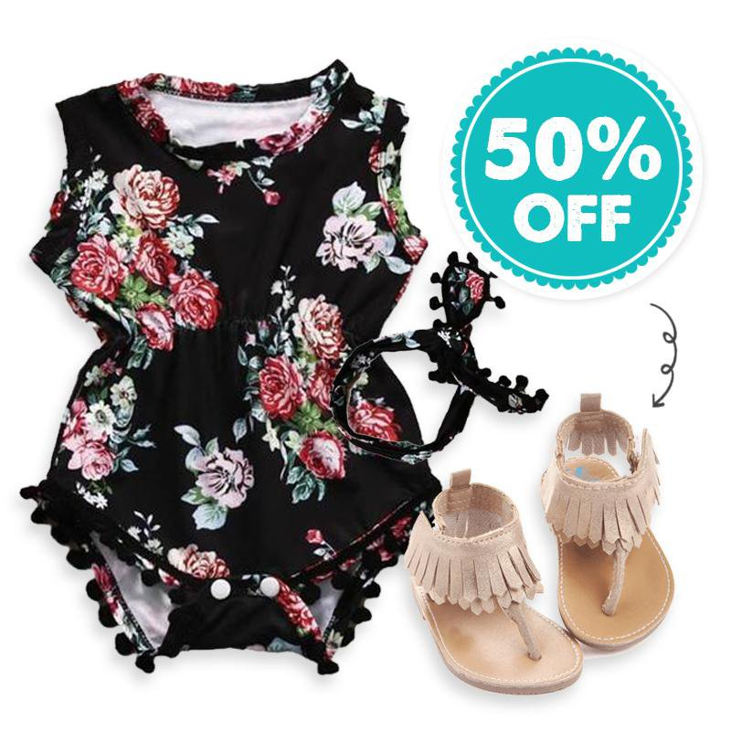 Dark Floral Set + 50% OFF Sandals!!!
