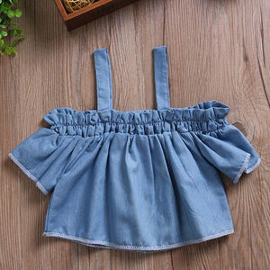 Denim Cold Shoulder Top by Elsewhereshop