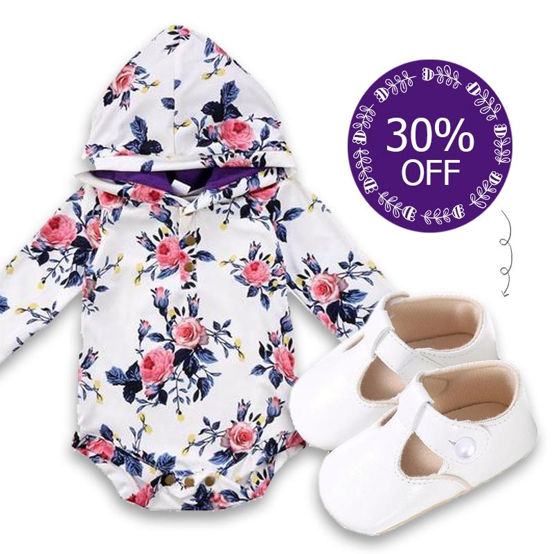 Jessica Floral Hooded Romper + Anne Floral Shoes