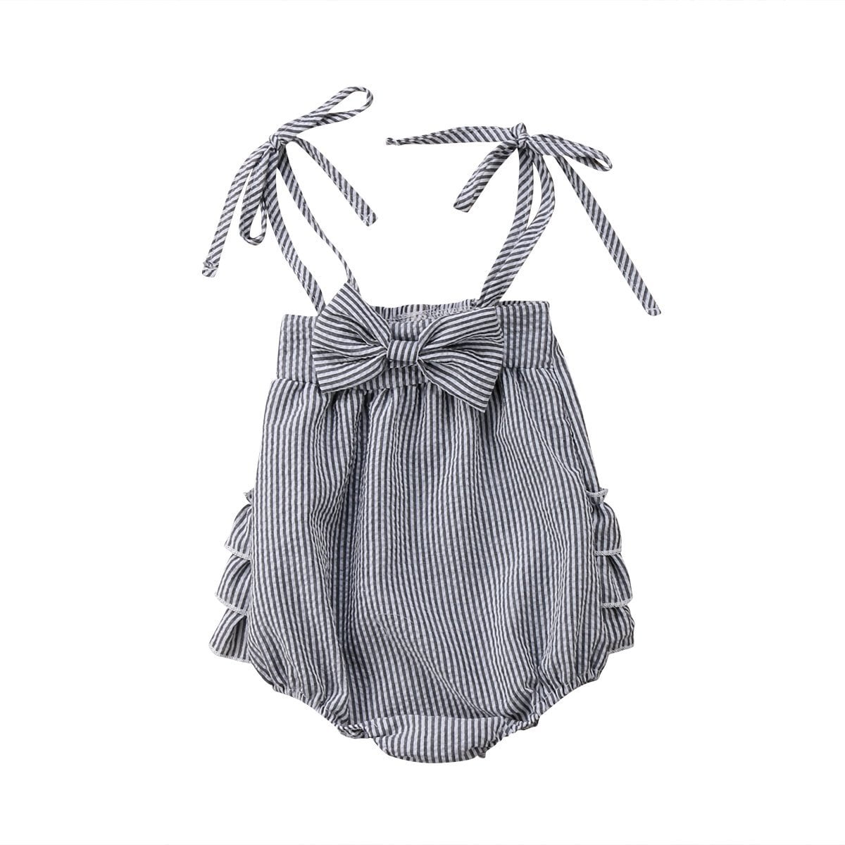 gray romper with bow knot and ruffles