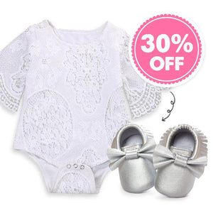 White Floral Bodysuit + 30% OFF Shoes!!!