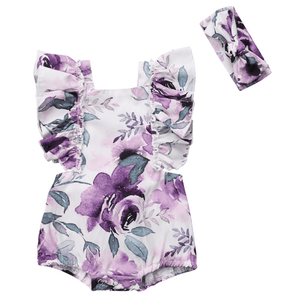 Abrielle Floral Romper and Headband Set by Elsewhereshop