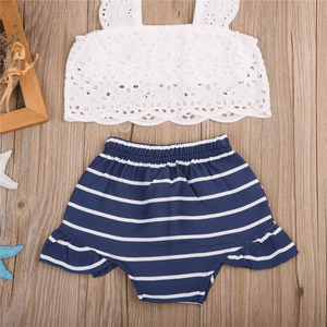Aquinnah Lace Top and Striped Shorts Set by Elsewhereshop