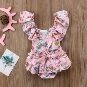 Unicorn Hearts Ruffled Romper