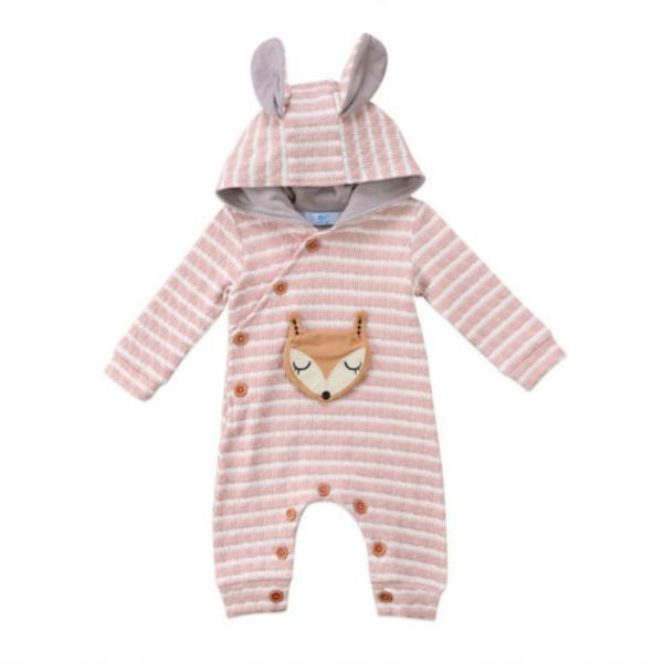 Fox  Striped Hooded Jumpsuit