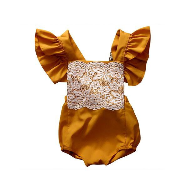 Mustard Butterfly Sleeve Sunsuit