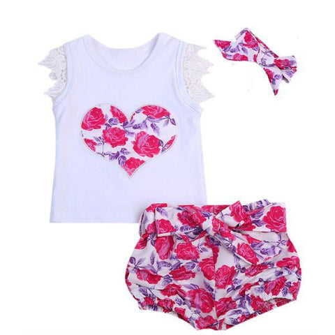 Floral Heart Short Set