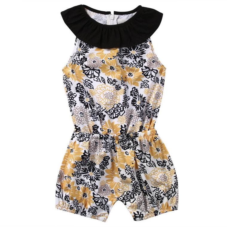 Black & Yellow Floral Romper