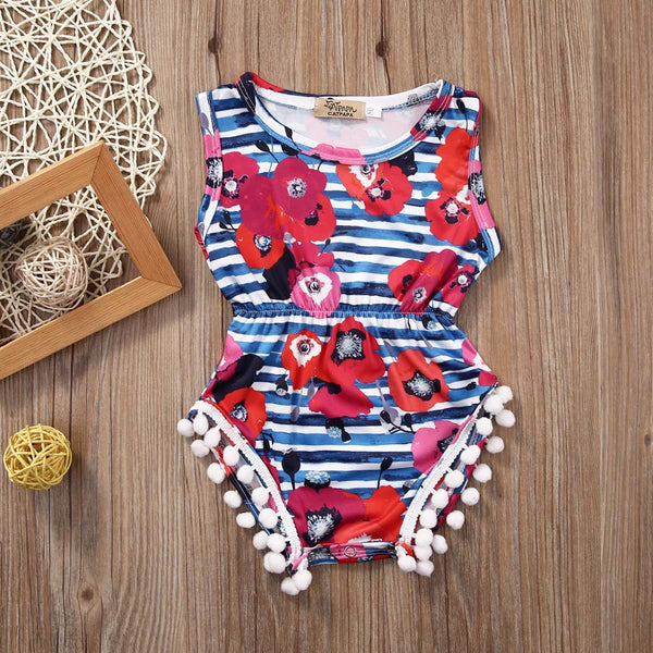 Floral Stripes Romper
